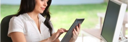 Woman using a digital tablet