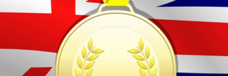 Gold medal with Union Flag background