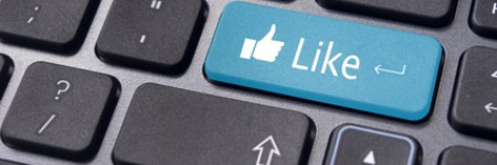 A like message on enter keyboard for social media concepts.